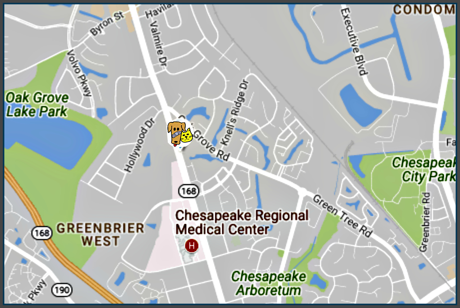 Animal Medical Clinic of Chesapeake 921 N Battlefield Blvd, Chesapeake, Va 23320 Great Bridge Hampton Roads Map Location